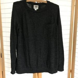 Zady Grey alpaca pullover crewneck sweater